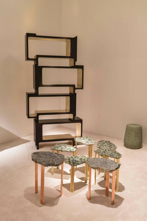 Contemporary 'Pathway' Set of Two Tables with Rare Hard Stones by Taher Chemirik  For Sale