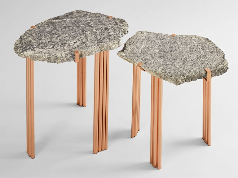 Varnished 'Pathway' Set of Two Tables with Rare Hard Stones by Taher Chemirik  For Sale