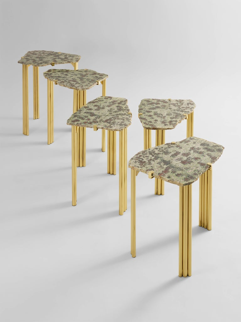 Varnished 'Pathway' Set of Five Tables with Rare Hard Stones by Taher Chemirik  For Sale