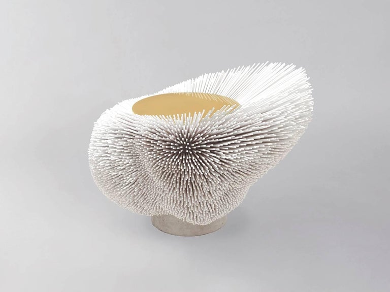 Brushed Large 'Sea Anemone' Side Table Handcrafted by Pia Maria Raeder For Sale