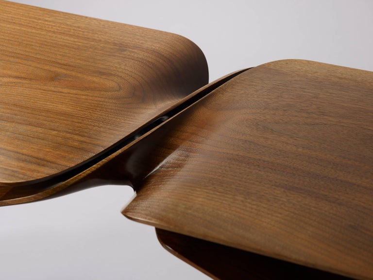 'Sculptural Twist Coffee Table' in Walnut by Carol Egan In New Condition For Sale In Paris, FR