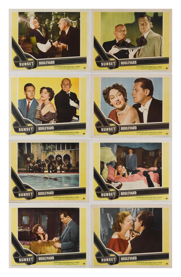 Original US full set of 8 lobby cards for this American film noir directed and co-written by Billy Wilder, and produced and co-written by Charles Brackett. The film stars William Holden, Gloria Swanson and Errich von Stroheim. The film was nominated