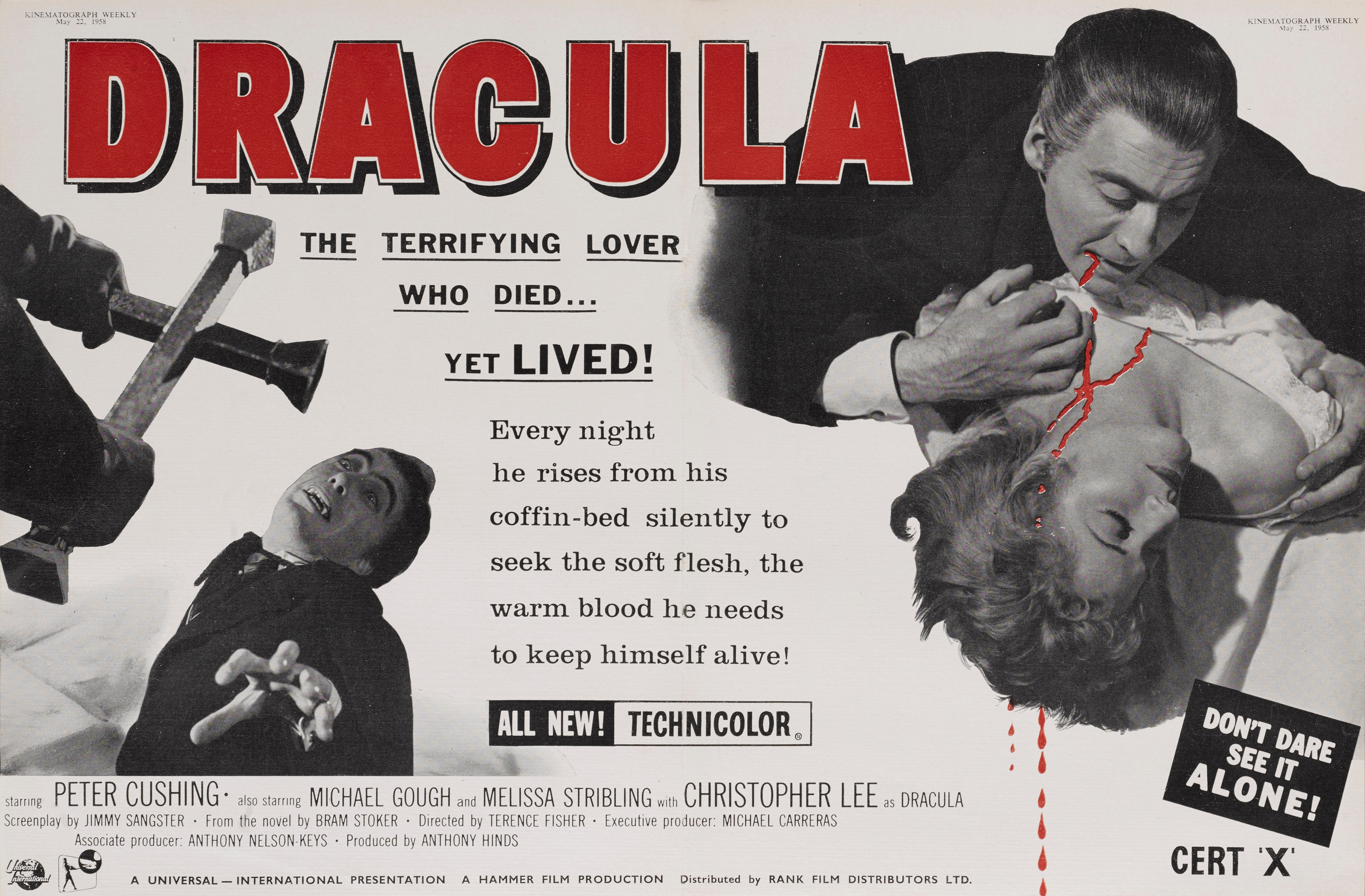 Dracula Peter Cushing Christopher Lee movie poster