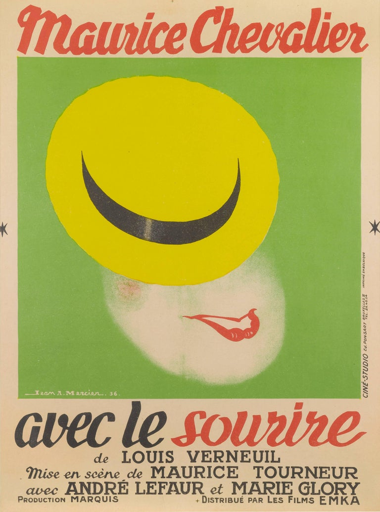 Original French movie poster for Avec le Sourire / with a smile, 1936 staring Maurice Chevalier. The wonderful art work is by Jean-Adrien Mercier (1899-1995) one of Frances most respected poster artists. The poster is conservation linen backed and
