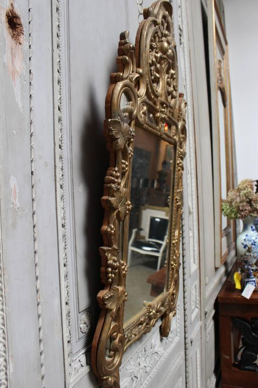 19th Century A French Regence Style Small Scaled Gilt Wood Mirror For Sale