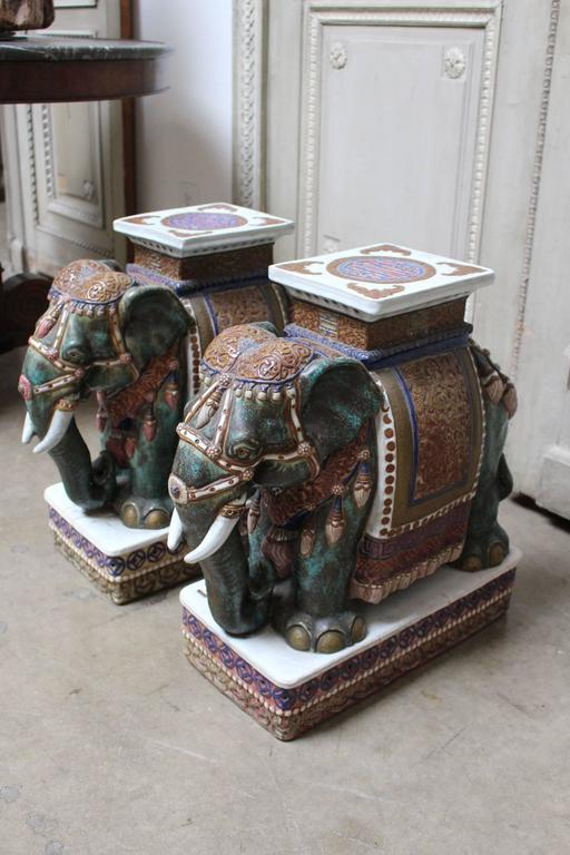 Pair Of Chinese Porcelain Elephant Garden Stools At 1stdibs