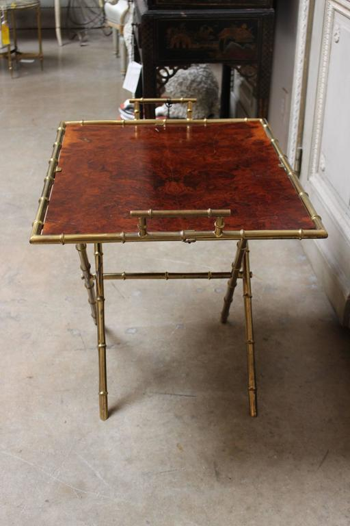 Mid-Century Modern French Brass and Burled Walnut Adjustable Cocktail or Side Table For Sale