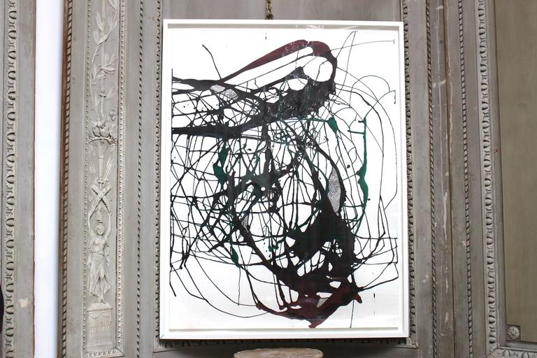 """Ink, acrylic, charcoal on paper. """"Untitled 2"""". Framed. Artist: Jack Cornell, Taos, New Mexico."""