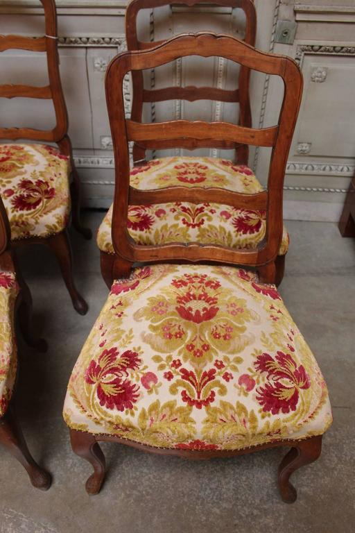 Louis XV Set of Six Swiss Walnut Dining Chairs For Sale