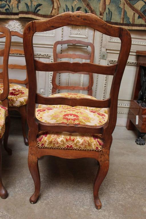 Set of Six Swiss Walnut Dining Chairs For Sale 1