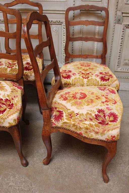 Set of Six Swiss Walnut Dining Chairs For Sale 4