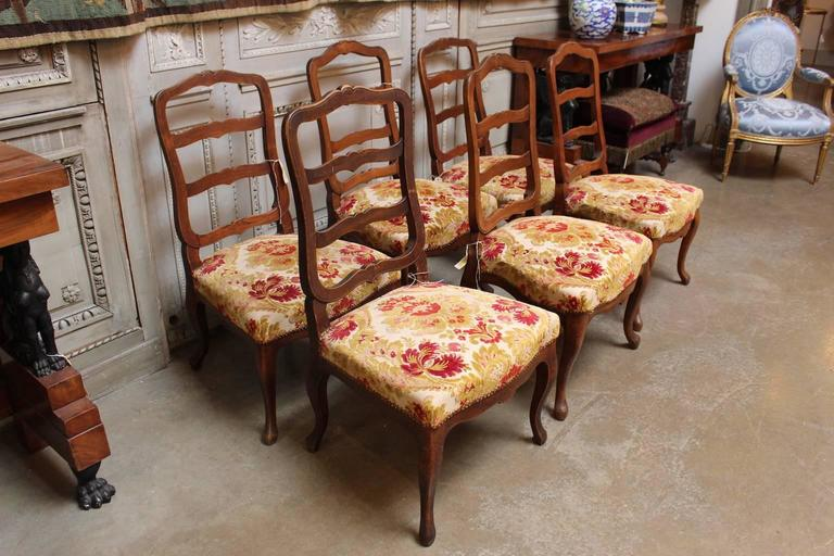Set of Six Swiss Walnut Dining Chairs For Sale 5