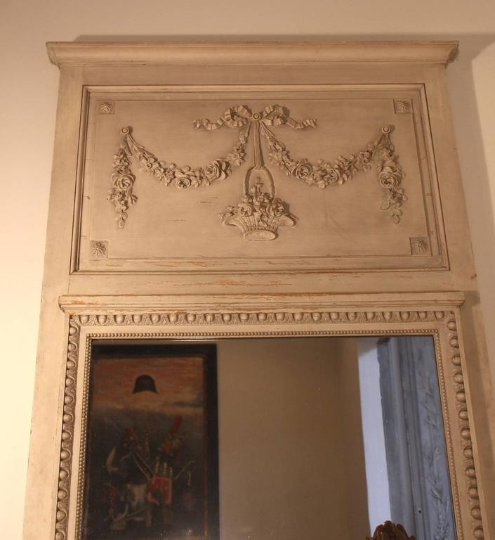 20th Century French Louis XVI Style Trumeau Mirror with a Painted Finish For Sale