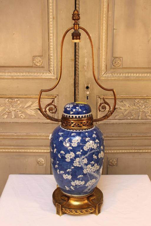 chinese blue and white porcelain lamp base with french bronze mounts. Black Bedroom Furniture Sets. Home Design Ideas