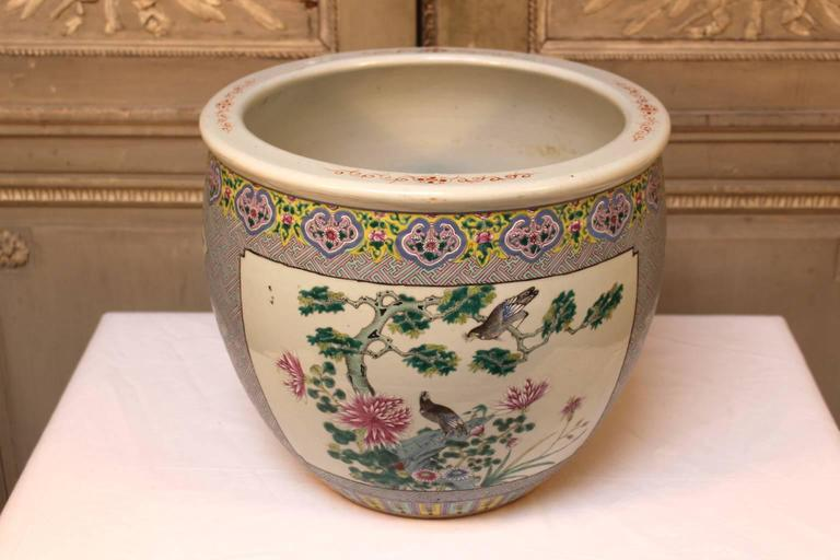 Late 19th Century Chinese Porcelain Fish Bowl For Sale At