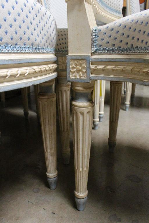 Early 20th Century Suite of Ten French Louis XVI Style Dining Chairs For Sale