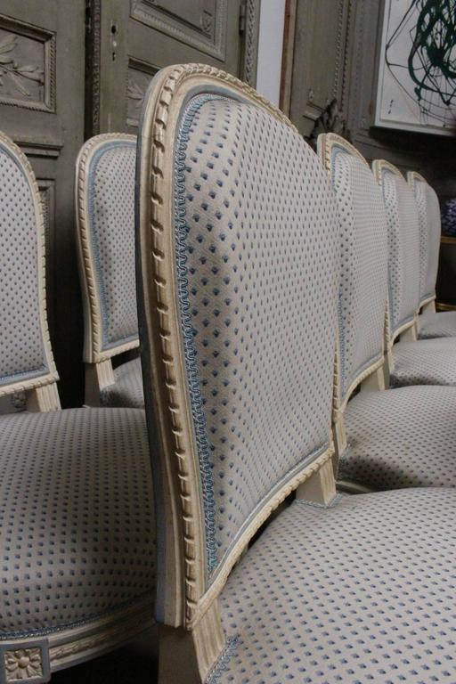 Suite of Ten French Louis XVI Style Dining Chairs For Sale 3