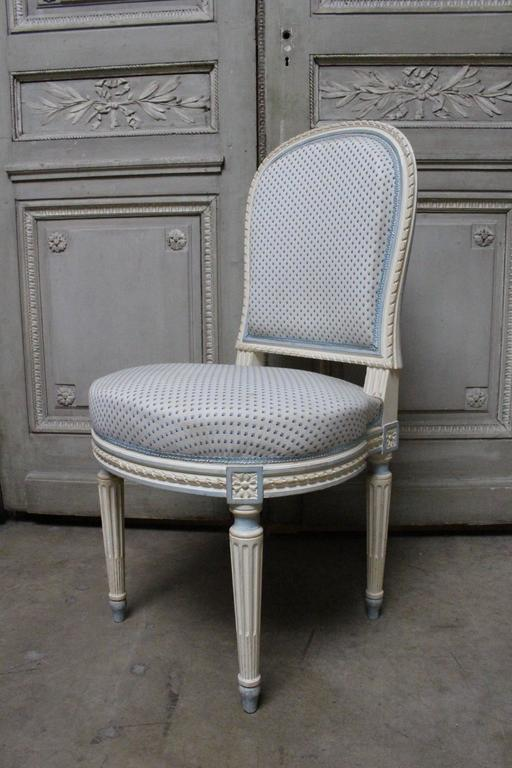 Suite of Ten French Louis XVI Style Dining Chairs For Sale 5