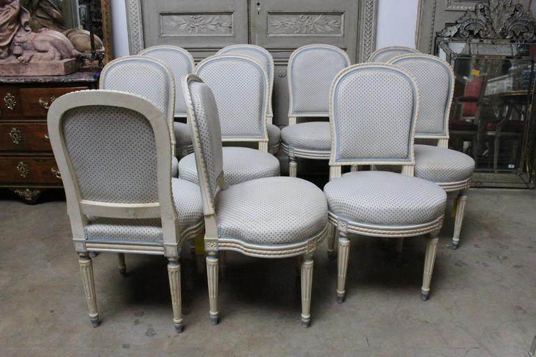 Suite of Ten French Louis XVI Style Dining Chairs For Sale 6