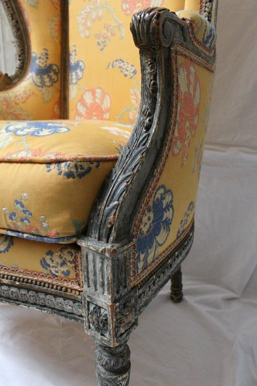 Beautifully Carved, Large Louis XVI Style Bergère with Painted Finish For Sale 1