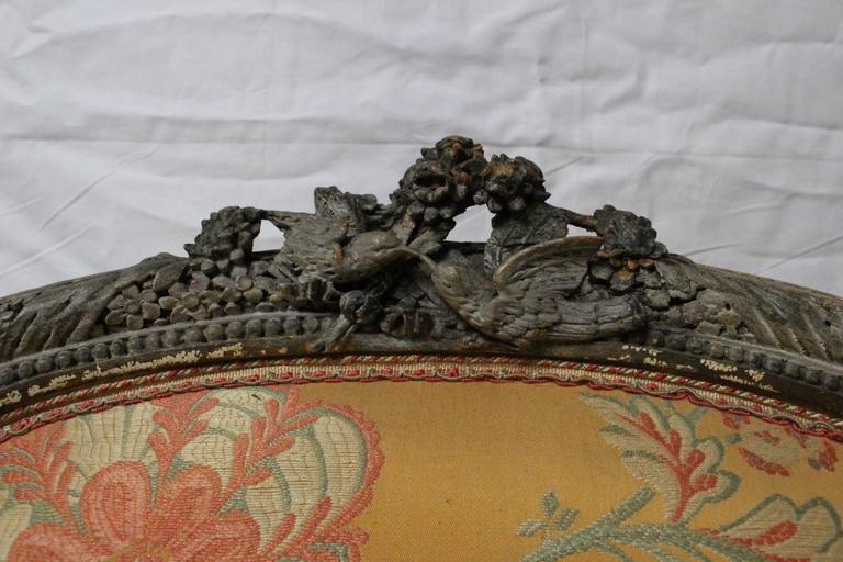 French Beautifully Carved, Large Louis XVI Style Bergère with Painted Finish For Sale