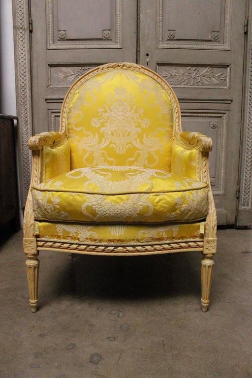 Very Large Pair of French Louis XVI Style Bergeres For Sale 3