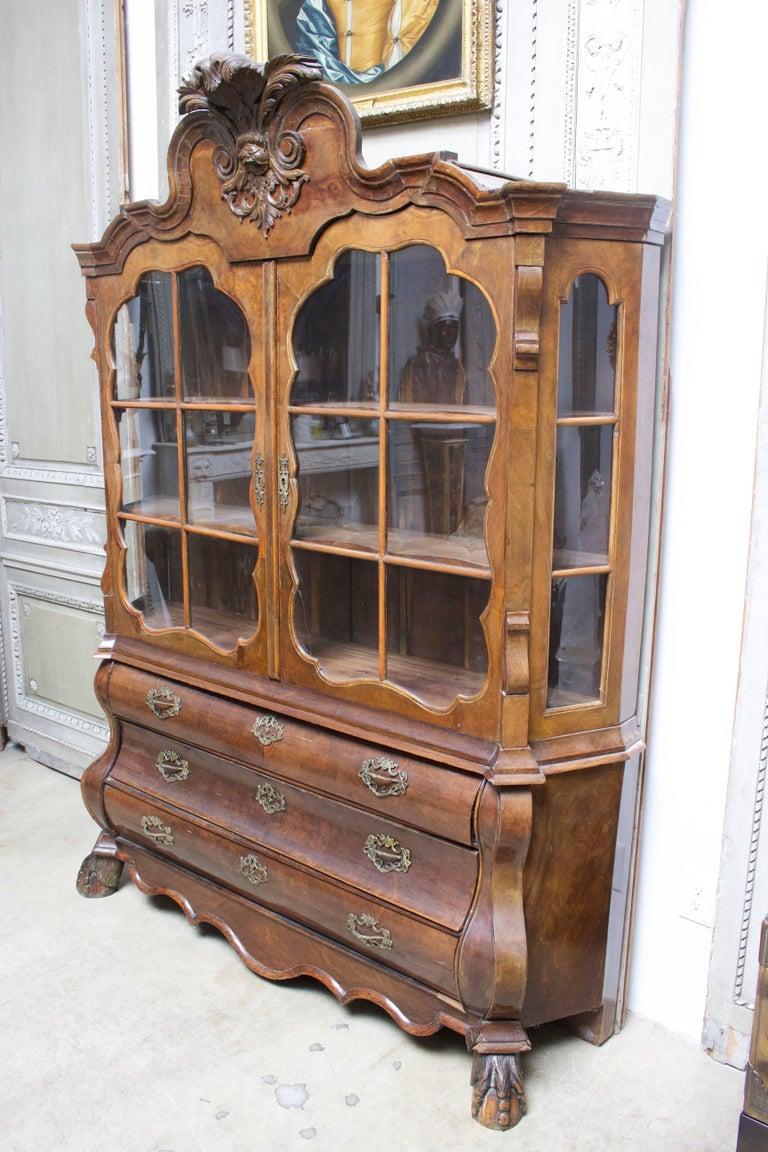 Dutch Rococo style burled walnut cabinet.
