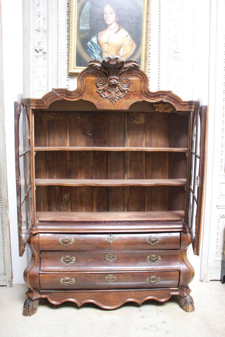 19th Century Dutch Rococo Burled Walnut Cabinet For Sale