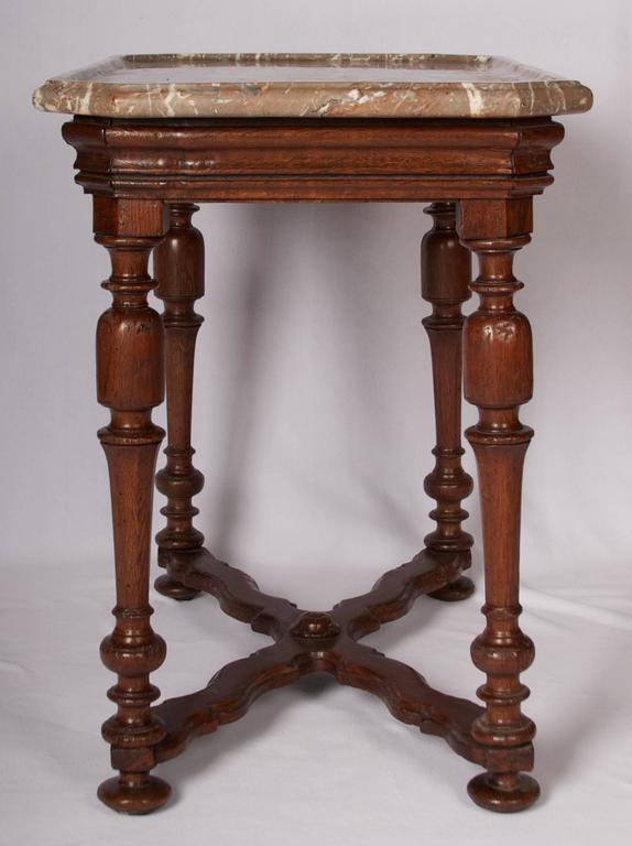 Wonderful Patina, Some Distressing, Tell A Tale Of A Well Loved And Cared  For. Jacobean Henry III Style Oak Side Table With Shaped Marble Top ...