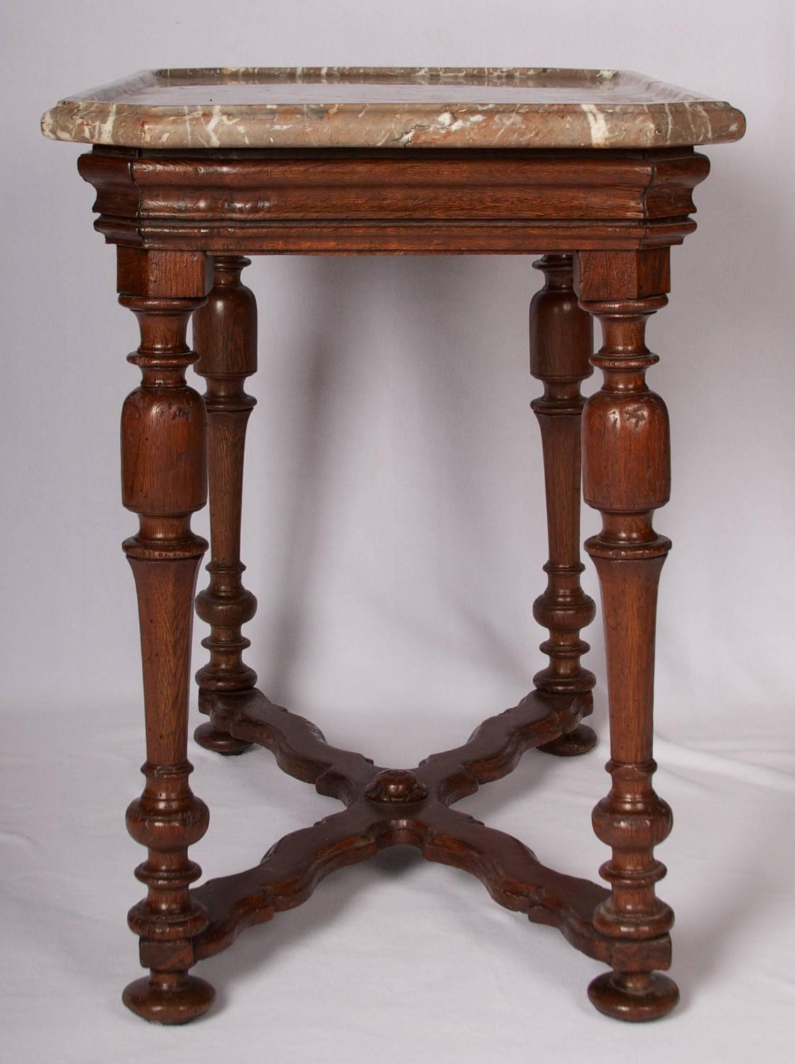 Henry III Style Oak Side Table With Shaped Marble Top For Sale At . Full resolution  photograph, nominally Width 1121 Height 1500 pixels, photograph with #653525.