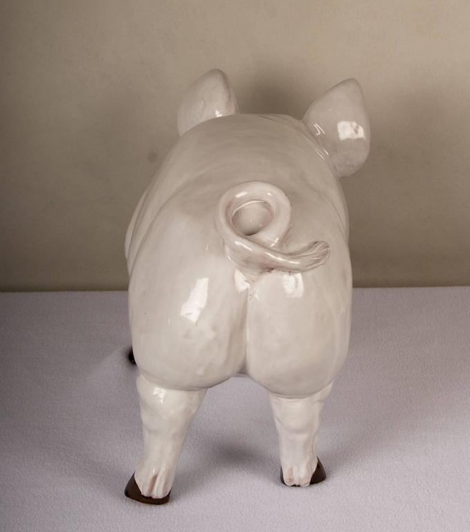 French Glazed Terra Cotta Sculpture of a Happy Pig For Sale