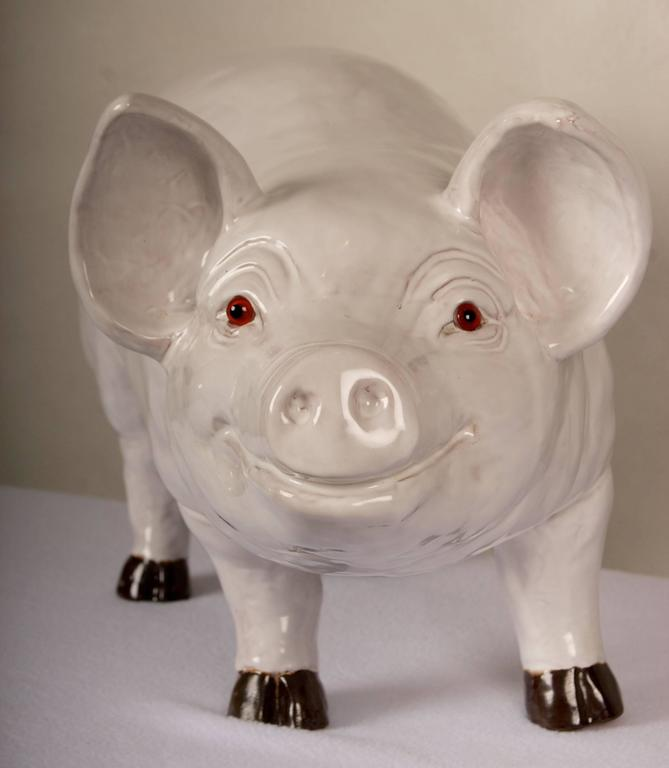Glazed Terra Cotta Sculpture of a Happy Pig 5