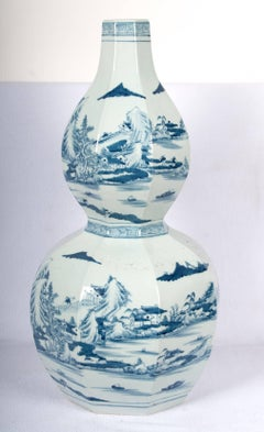 Octagon Double Gourd Shaped Blue and White Vase