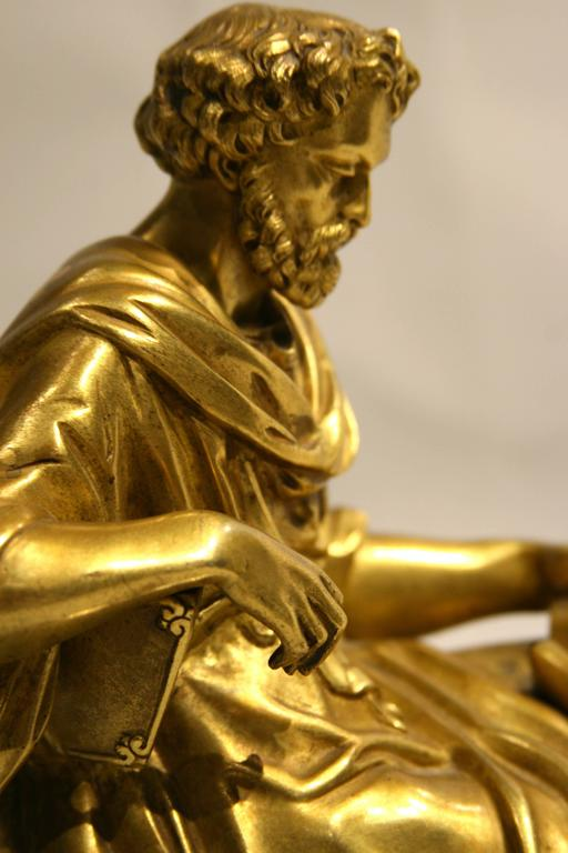 Classical Figure Of A Philosopher French Gilt Bronze For