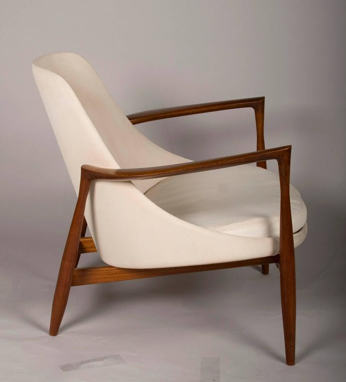 Modern Pair of Ib Kofod-Larsen Elizabeth Chairs and Ottomans, by Christensen or Larsen For Sale
