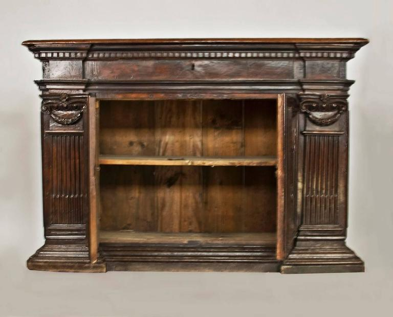 Italian Early 17th Century Walnut Credenza/ Cabinet For Sale
