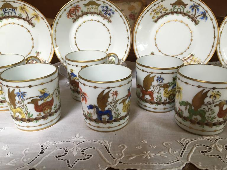 Hand-Painted 12 Tiffany-Le Tallec-Paris Cirque Chinois Demi Tasse, Very Rare For Sale