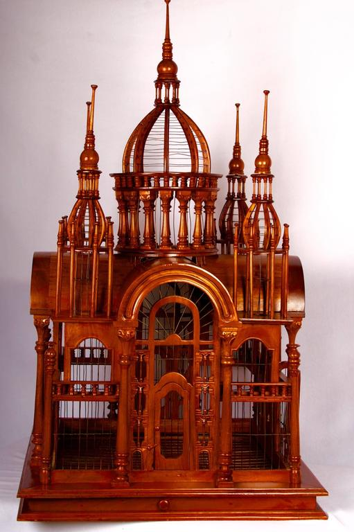 Baroque Revival Victorian Style Architectural Mahogany Birdcage of Large-Scale For Sale