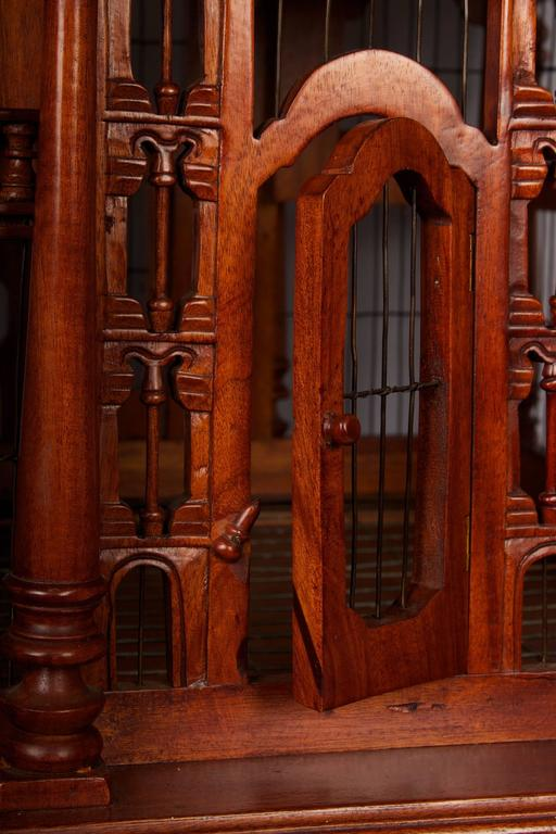 Hand-Crafted Victorian Style Architectural Mahogany Birdcage of Large-Scale For Sale