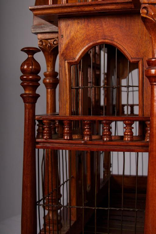 Victorian Style Architectural Mahogany Birdcage of Large-Scale In Excellent Condition For Sale In San Francisco, CA
