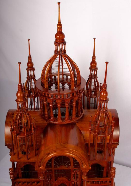 Victorian Style Architectural Mahogany Birdcage of Large-Scale For Sale 1