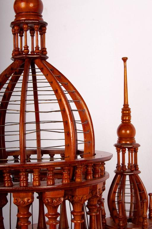 Victorian Style Architectural Mahogany Birdcage of Large-Scale For Sale 2