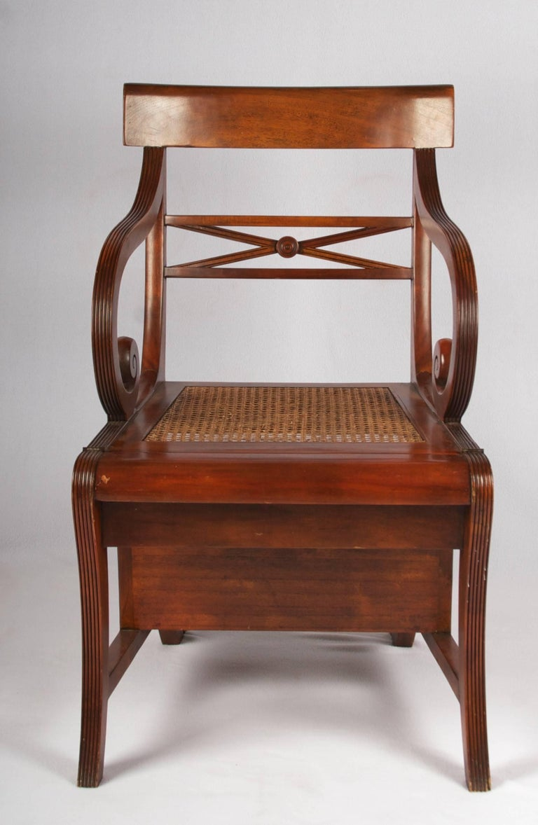 American Early 20th Century Regency Style Metamorphic Armchair or Library Ladder For Sale