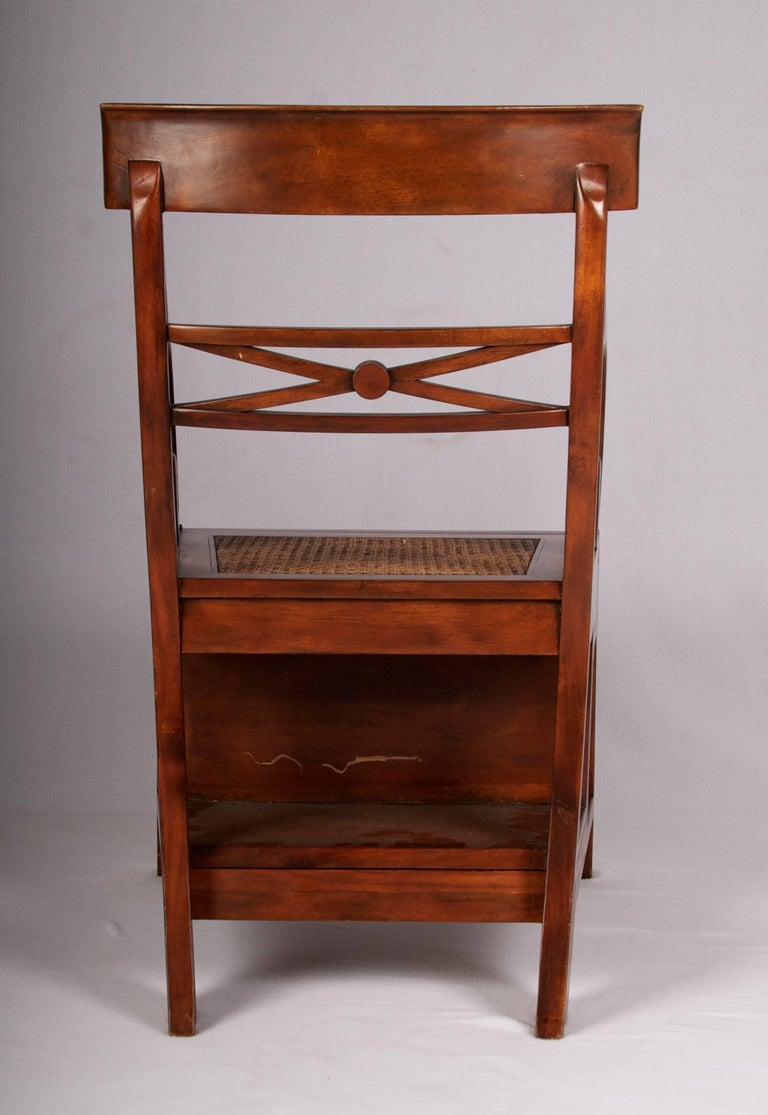 Cane Early 20th Century Regency Style Metamorphic Armchair or Library Ladder For Sale