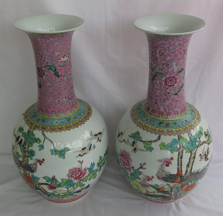 Pair Of Large Chinese Porcelain Bottle Vases Famille Rose Mid 20th
