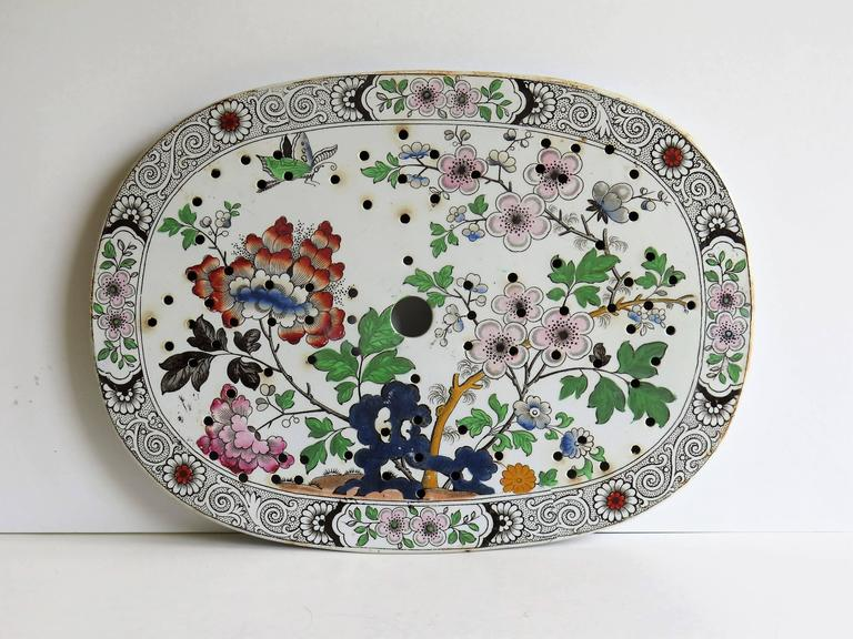 Regency Georgian Ironstone Drainer Plate by Hicks Meigh and Johnson Chinoiserie, Ca 1830 For Sale