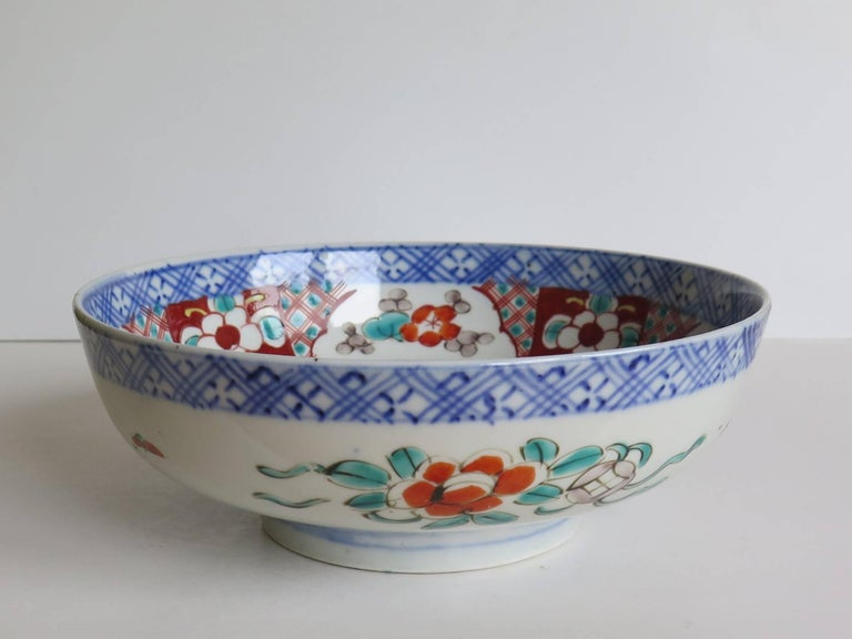 19th Century Japanese Porcelain Footed Bowl Hand-Painted Polychrome Water Side Scene For Sale