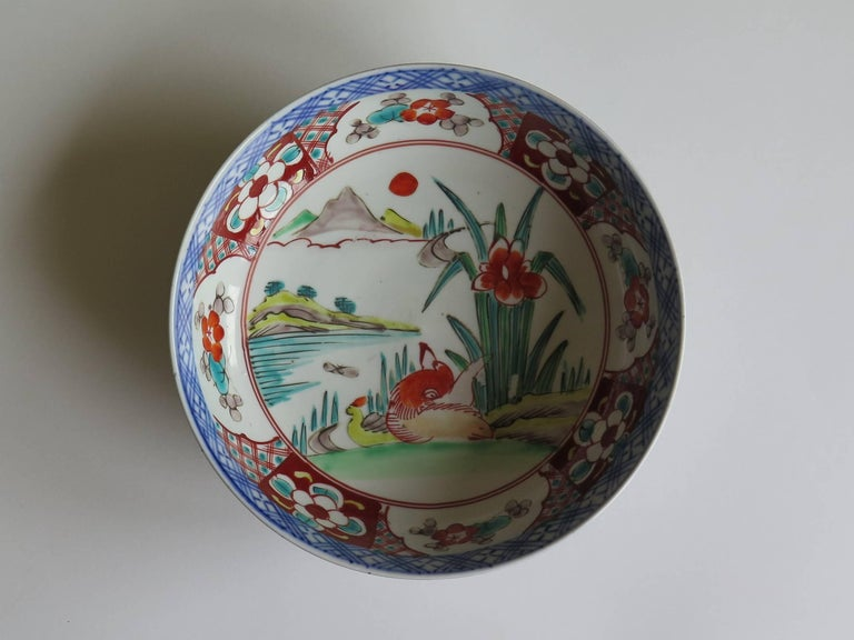 Meiji Japanese Porcelain Footed Bowl Hand-Painted Polychrome Water Side Scene For Sale