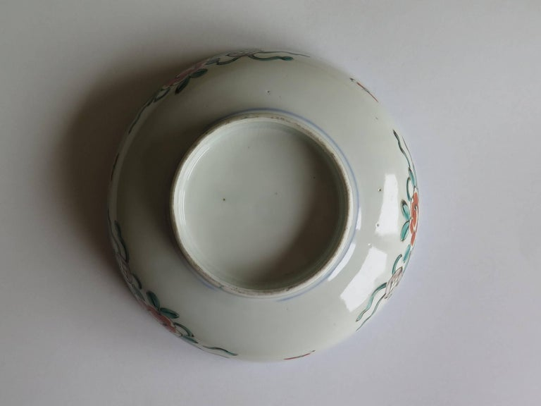 Japanese Porcelain Footed Bowl Hand-Painted Polychrome Water Side Scene For Sale 10