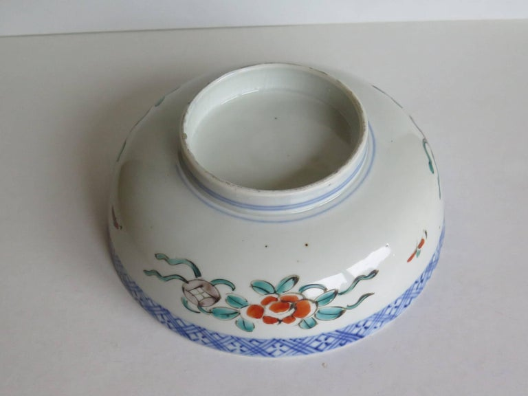 Japanese Porcelain Footed Bowl Hand-Painted Polychrome Water Side Scene For Sale 9